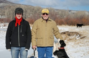 Eamon, Pat, Sadie and bull calf on Battle Creek