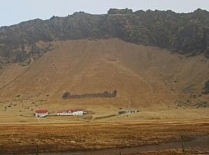 farm with shelter belt to protect from rock slides
