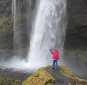 Sharon with waterfall