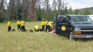 Firefighters getting ready to head out USFS photo by Kassidy Kern