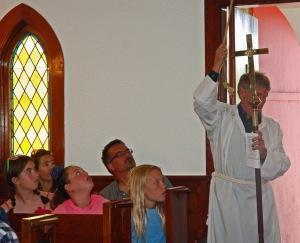 Jeff Reid ringing the church bell