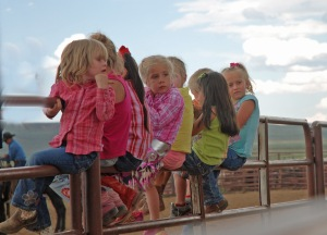 Trouble on the fence:  Maeve and the kindergarten girls