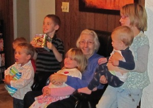 97-year-old Marie O'Toole with six of her nine great-grandchildren