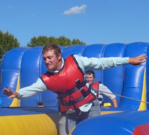 Eamon on the bungee pull, with Brenden
