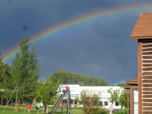 Rainbow over the swingset and museum