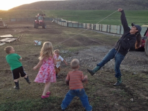 Aunt Halli roping the children
