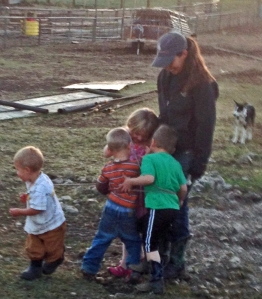 Halli's got the kids lassoed--but looks like Rhen is getting away!
