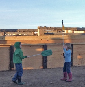 Seamus and Maeve dueling with livestock working sticks
