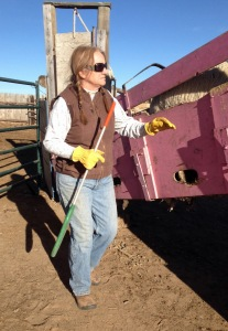 Sharon, working the pink chute