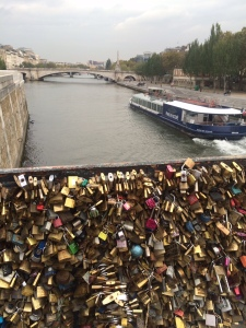 Locks of love on a bridge over the Seine