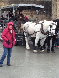 "Sharon with the ""taxi"" at Mont St. Michel"