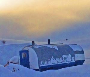 summer wagons under snow